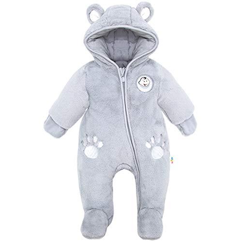 Newborn Baby Hooded Romper Fleece Snowsuit Bear Jumpsuit Long Sleeve Fall Winter Outfit, Blue 0-3 Months