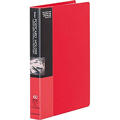 コクヨ ポストカードホルダー 固定式 A6 30ポケット 最大60枚収容 赤 ハセ-20NR 【まとめ買い5冊セット】