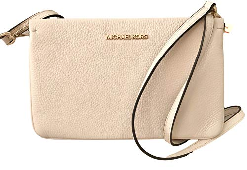 Pebbled Leather Gold Hardware Approx 9.25L x 6H x 1.5W inches Triple compartment - Middle zippered , with two snap Detachable strap, can be used as a large clutch or crossbody