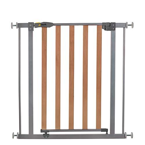 Hauck Barrera de Seguridad de Niños para Puertas y Escaleras Wood Lock Safety, Sin Agujeros, 75-80 cm, Extensible con Extensiones por Separado, Metal y Madera