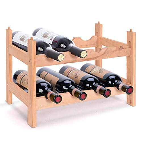 DREAMADE Weinregal mit 2 Ebenen, Kiefer Flaschenregal für 8 Flaschen, Weinregal stapelbar Holz, unbehandelt & natürlich, geeignet für Zuhause Keller Restaurant Bar, 43 X 30 X 25cm