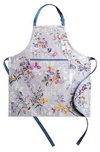 Maison d#039 Hermine Equinoxe 100% Cotton 1 Piece Apron with an Adjustable Neck amp Hidden Centre Pocket with Long Ties for Women/Men Chef Grey 2750quotx3150quot
