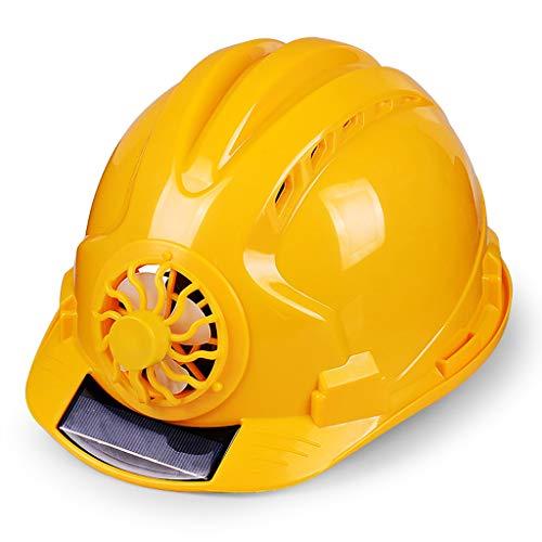 LIAN Schutzhelm mit Ventilator Belüftete Baustelle Sonnenschutz Schutzhelm Atmungsaktiver Schutzhelm, Multi-Color-Auswahl (Color : Yellow)