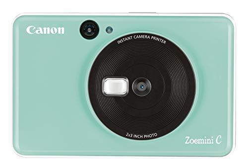 Canon Zoemini C Sofortbildkamera digital 5 MP (Sofortdruck, Sucher, Blitzlicht, Micro SD Kartenslot, Selfie Spiegel (11x8 mm), 5 x 7,6 cm Aufkleber, ZINK Druck tintenfrei), mint green