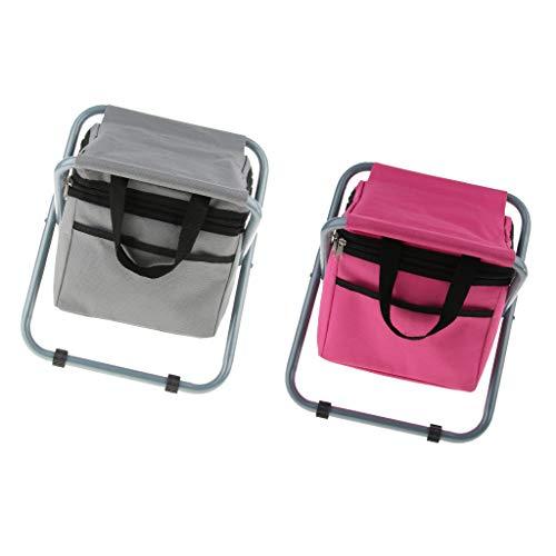 Homyl 2 TLG Outdoor Falthocker Klappstuhl Sitzhocker mit Kühltasche, Pflegeleicht Witterungsbeständig für Camping Garten Terrasse Balkon Angeln - grau + rosarot