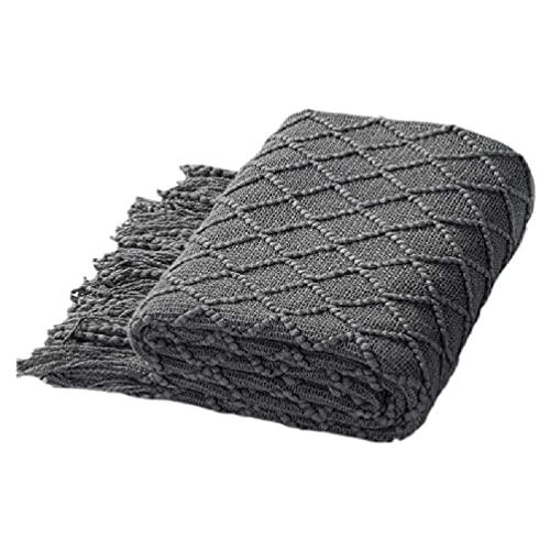 Manta Tejida de acrílico para sofá con Borla mantón con Textura de rombo Funda de Cama Tejida Funda Decorativa para sofá