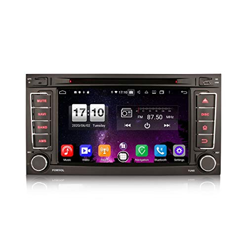 ERISIN 7 Pulgadas Android 10.0 Estéreo de Automóvil para VW Touareg T5 Multivan Soporte GPS Sat Nav Carplay Android Auto DSP Bluetooth A2DP WiFi 4G Dab + TPMS DVB-T / T2 Octa Core 4GB RAM + 64GB ROM