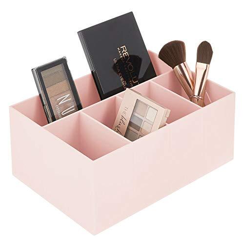 mDesign Schminkaufbewahrung für Wasch- oder Schminktische – Aufbewahrungsbox aus BPA-freiem Kunststoff für Make-up – moderner Kosmetik Organizer mit 5 Fächern – rosafarben