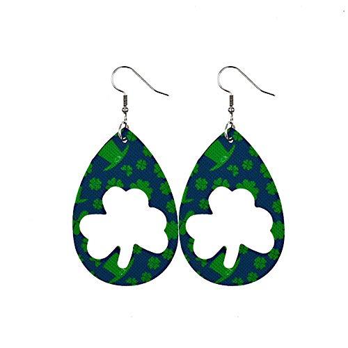 Seguire Green Drop Shape Printing Earrings St Patricks Day Green Lucky Earring ccessory Ear Studs, Shamrock, Leprechauns, Green Beer Irish Teardrop Earrings for Women Girls Jewelry