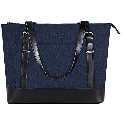 KROSER Laptop Damen Handtasche Marine Handtaschen Elegant Taschen Shopper Reissverschluss Frauen Handtaschen 15,6 Zoll Große Leichte Nylon Stilvolle Handtasche für Business/Schule/Reisen-MEHRWEG