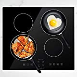 Empava 24 Inch Electric Stove Induction Cooktop with 4 Power Boost Burners Smooth Surface Vitro Ceramic Glass in Black 240V