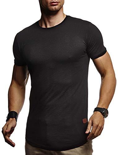 Leif Nelson Herren Sommer T-Shirt Rundhals Ausschnitt Slim Fit Baumwolle-Anteil Cooles Basic Männer T-Shirt Crew Neck Jungen Kurzarmshirt O-Neck Kurzarm Lang LN8331 Schwarz Large