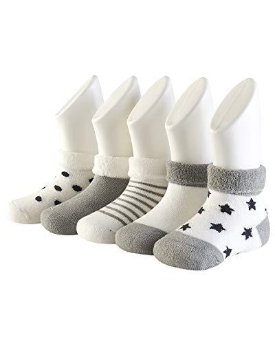 Adorel Calcetines Invierno de Rizo para Bebé Niño Lote de 5 Gris 0-6 Meses (Tamaño del Fabricante S)