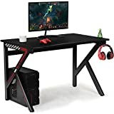 Tangkula Computer Desk Gaming Desk, E-Sports Gaming Workstation with Cup Holder & Headphone Holder, Ergonomic Gamer Table with Adjustable Feet Pads, Home Office Computer Desk PC Desk Table