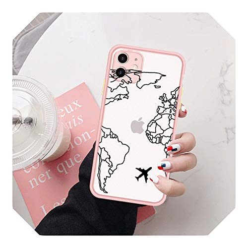 World Map Travel Funda para iPhone 7 XS MAX X 11 Pro XR SE 20 8 6Plus Cámara protección cubierta caramelo -estilo 1-para iPhone 11