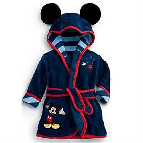 Bata de bebé para niñas Estampado de dibujos animados Minnie Mickey Albornoz de niños Pijamas de coral Cálido Infantil Ropa de niños Albornoces 2-6Y 4 Negro