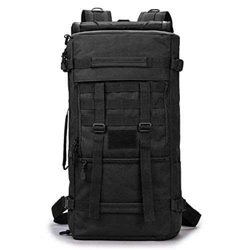 50L Outdoor Backpack Military Molle Tactical Bag Rucksack Backpacks Hiking Camping Camouflage Water Resistant Sport Bags-Black_50-70L