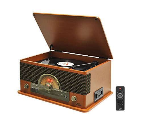 Pyle PTCD56UBWDrecord Player Stereo System Turntable Stereo System for Home CD Bluetooth Wireless Audio USB Recording - Brown