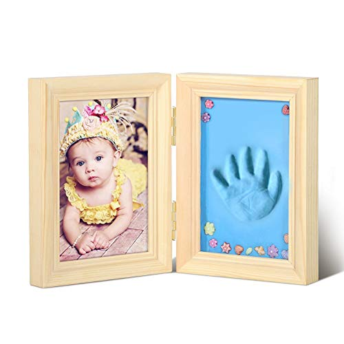 Baby Handprint Footprint Kit babyherinnering Frame Photo Album Wooden Christmas Gift Picture Frame,Beige