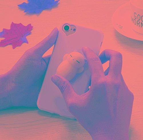 FATEGGS Accesorios para teléfonos móviles para iPhone 6 Plus y 6S más 3D Little Bear Pink Ears Pattern Squeeze Relief Squishy Funda Trasera a Prueba de Mano Casos Cubre