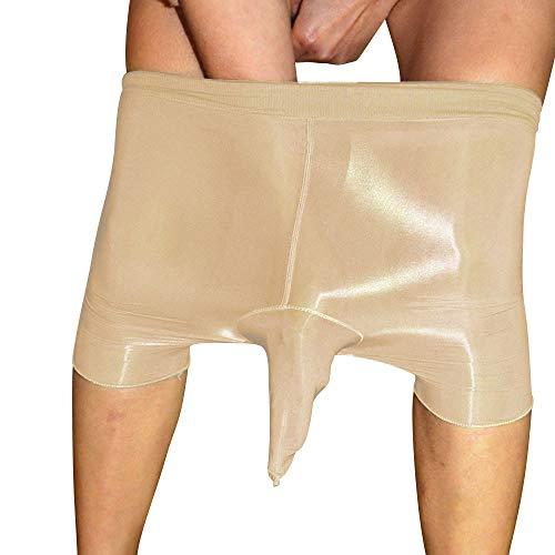 ElsaYX Herren Shiny Glossy Strumpfhose Boxershorts Unterwäsche Mantel Schließen