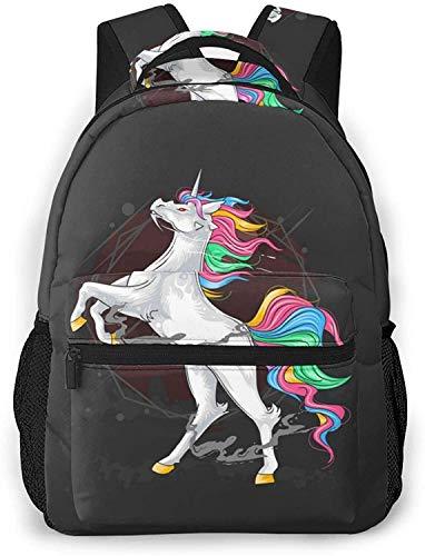 Mochila básica de viaje para ordenador portátil, diseño de unicornios, ideal para la escuela, color a todo color