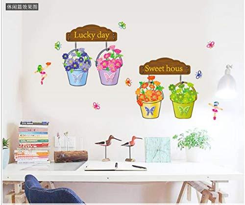 ZJMIQT Pouvez supprimer Le Mur Stick Foreign Trade Autocollants Caricature Room Decoration Sweet Lucky Flower Pot Autocollants