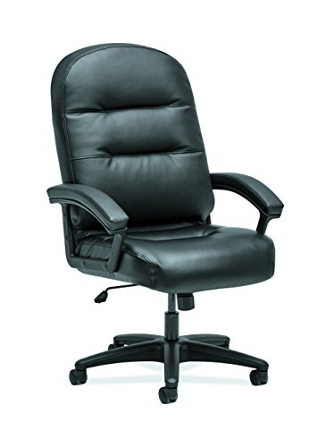 HON The Company HON2095HPWST11T Pillow-Soft Chair, EXECUTIVE HIGH-BACK, SofThread BLACK LEATHER