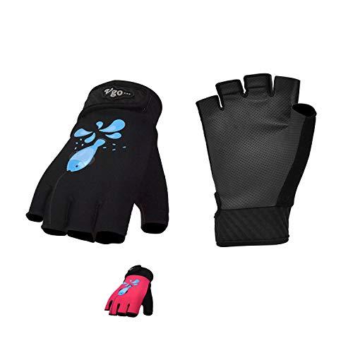 Vgo... 2Pairs Age 5-6 Kids Fishing,Kayaking,Paddling,Canoeing,Rowing Gloves(Size M, Black & Red, PU0055)