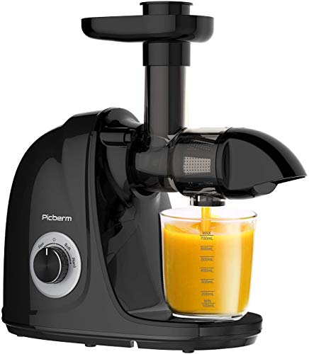 Juicer Machine, Picberm PB2110A Slow Masticating Juicer for Nutrients Preservation Anti-Clogging Easy to Clean, Quiet Motor Cold Press Extractor with Brush Recipes for Fruits and Vegetables, Black