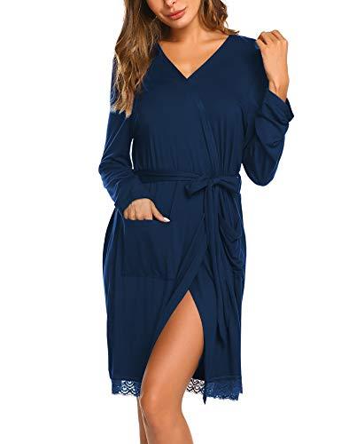 MAXMODA Damen Kimono Morgenmantel Lang Bademantel Fauen Schlafanzug Negligee Nachthemd Nachtwäsche Unterwäsche V Ausschnitt mit Gürte