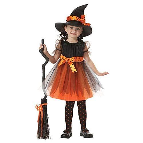 CHNWSJ Kostuum voor halloween Kinderen Meisjes Halloween Heks Dress+hoed Kinderdag Prinses Feestjurken Carnaval Cosplay Kostuum geel 140