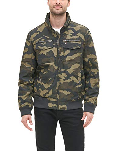 Tommy Hilfiger Men's Water and Wind Resistant Performance Bomber Jacket (Standard and Big & Tall), Camo, Large Tall