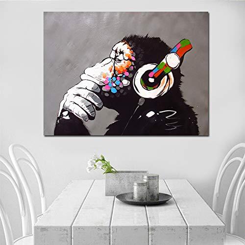 BGFDV Mono Abstracto Escuchando música Pensando en Pintura al óleo en Color sobre Lienzo póster y decoración del hogar en Cuadros de Arte de Pared Impresos