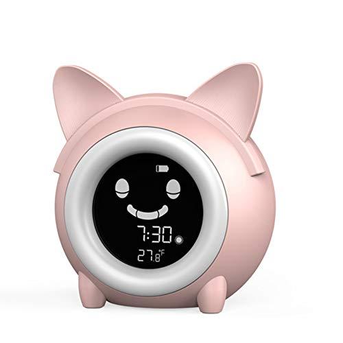 Despertador NiñO Entrenamiento para Dormir Despertador De Dibujos Animados Creatividad Pantalla LCD Reloj Digital con Luz Nocturna Candado De Seguridad Evite El Mal Uso De Los NiñOs,Pink