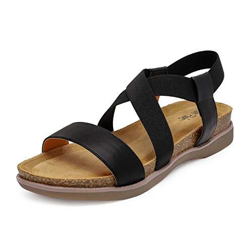 DREAM PAIRS Women's Black Open Toe Elastic Strap Flat Sandals Size 7 M US Kana