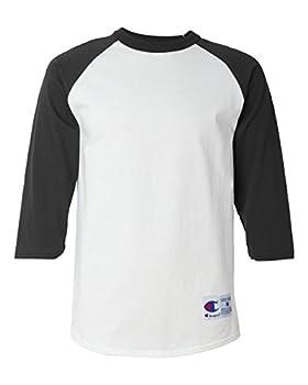 Champion Men s Raglan Baseball T-Shirt White/Black Large