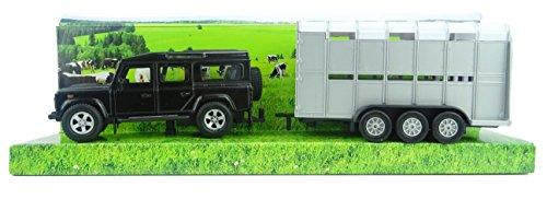 TOYLAND Land Rover Defender con Ganado Trailer - Ganadería Transporte (BT156) Negro [Toy]