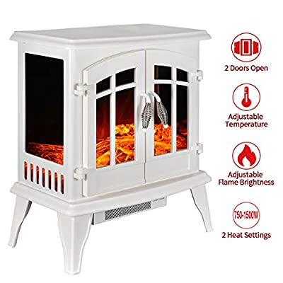 """23"""" Electric Fireplace Heater,1500W Freestanding Stove Portable Fireplace Heater with Realistic Log Frame, White"""