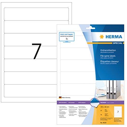 HERMA 8620 Ordnerrücken Etiketten DIN A4 blickdicht, kurz/schmal (192 x 38 mm, 10 Blatt, Papier, matt) selbstklebend, bedruckbar, permanent haftende Ordneretiketten, 70 Rückenschilder, weiß