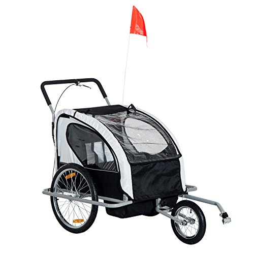 HOMCOM 2 in 1 Collapsible Bike Trailer 2-Seater Child Stroller for Bicycle Baby Jogger with Pivot Wheel Suitable for 18 Month +(Black and White)