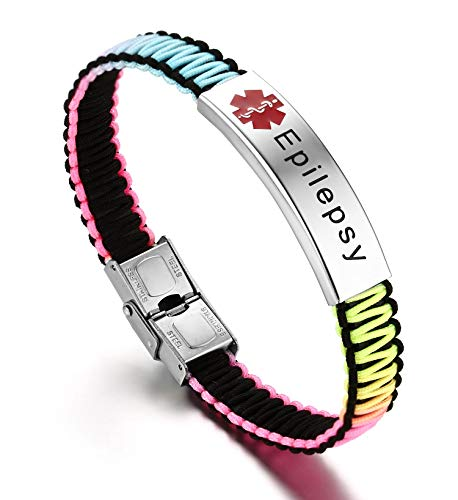 JF.JEWELRY Epilepsy Medical ID Alert Bracelet for Women Rainbow Nylon Braid Bracelet Adjustable