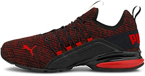 PUMA Men's Axelion Ultra Cross-trainer, Black/High Risk Red, 12