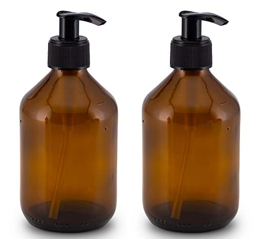 Lifestyle Lover - Dispensadores de jabón de cristal marrón, color ámbar, para jabón, fregadero, champú o lociones, botellas de cristal marrón de 300 ml y 500 ml (lisas), plástico, 2 x 300 ml.