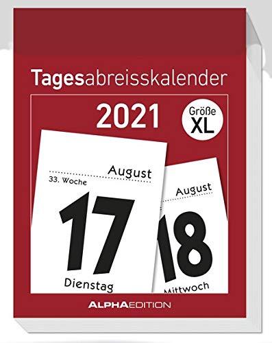 Tagesabreißkalender XL 2021 - Bürokalender 8x11 cm - 1 Tag 1 Seite - mit Sudokus, Rezepten, Rätseln uvm. auf den Rückseiten - Alpha Edition