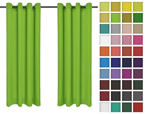 Rollmayer 2er Pack Vorhänge Schal mit Ösen Kollektion Vivid (Seladongrün 24, 135x150 cm - BxH) Blickdicht Uni einfarbig Gardinen Schal für Schlafzimmer Kinderzimmer Wohnzimmer 2 Stück