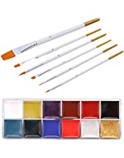 FRCOLOR Face Body Paint Kit 12 Grids Face Paint Palette for Kids Tattoo Oil Painting Set with 6 Pcs Makeup Brushes for Halloween Party Cosplay Makeup