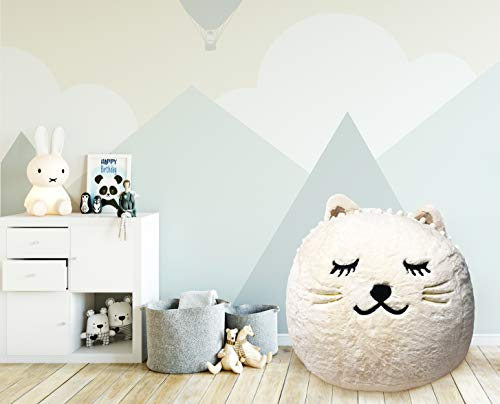 Beanbag For Kids: Soft And Comfortable Stuffed Bean Bag Chair For The Nursery, Cute Animal Design For Boys And Girls, Lux Plush Fabric, For Children Of All Ages 30'' x 30'' x 20'' (White Kitty)