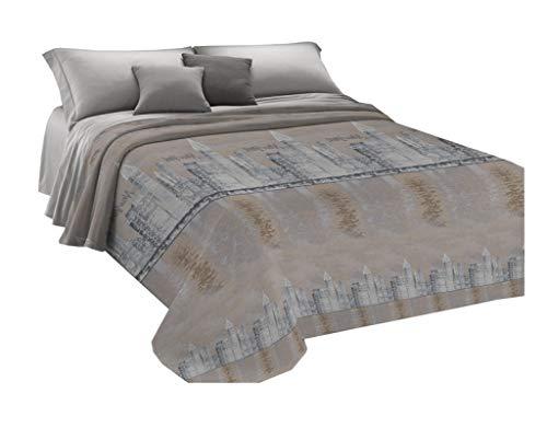 HomeLife Frühling Sommer leichte Tagesdecke [260x280], Qualität aus Italien|Hergestellt aus hochwertiger Baumwolle|New York City Motiv|Einzelbettdecke aus feinem Stoff für warme Jahreszeiten Beige