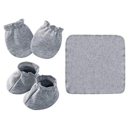 gszfsm001 - Toalla de saliva de algodón suave para bebé recién nacido + guantes antiarañazos para guantes + calcetines herramienta
